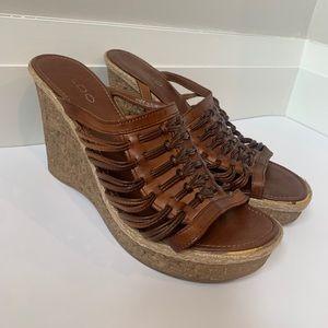 ALDO Brown Leather Boho Cork Wedge Heels W10